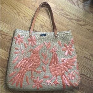 Kate Spade Straw Embroidered Tote
